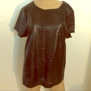 Tops - Black faux leather eyelet blouse size large